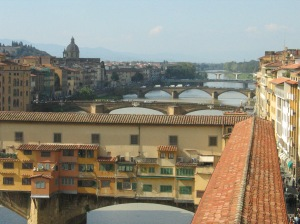 Florence's bridges, with the Ponte Vecchio in the foreground