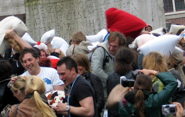 Pillow fight in Amsterdam's Dam Square