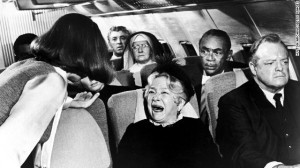 That's me, getting cranky on the plane.