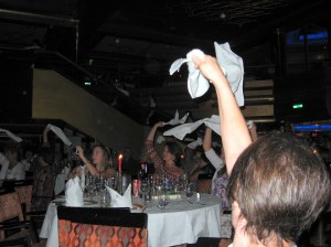 I forget why everyone was waving their napkins at dinner. Maybe the waiters were marching in with desserts with sparklers? Something fun, anyway!