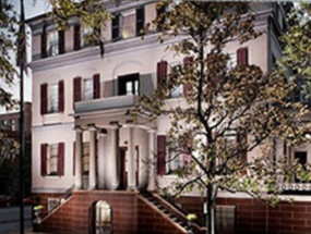 The beautiful home of Girl Scout Founder Juliette Gordon Low is on Bull St., just down a bit from Wright Square. Photo from cleveland.com.