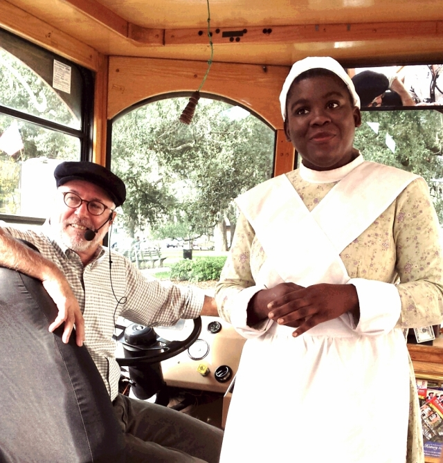 Historic characters in costume hop on the trolley to tell their stories.  This is Susie Baker King Taylor, emancipated slave and first African American teacher in Georgia. She also nursed black soldiers alongside Clara Barton in the Civil War.