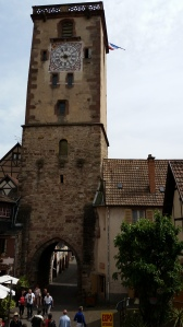 The clock tower in Ribeauville was built in the early 1500's.