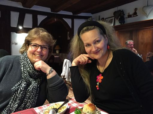 Sue took this photo of Sophie and me at dinner on our last night in Ribeauville (profiteroles for dessert!)