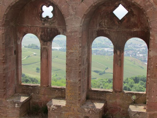 View from inside the castle ruins, looking down to the countryside around Ribeauville.