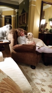 Carol and Jazz, with Max observing from his perch on the end table.